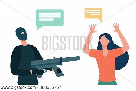 Criminal In Mask Aiming Gun At Scared Victim. Woman Raising Arms And Talking To Offender Flat Vector