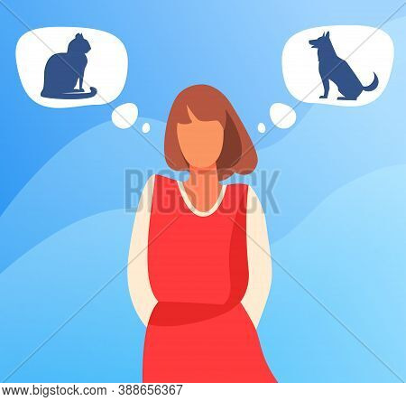Woman Choosing Between Cat And Dog Adoption. Pet Owner, Thought Bubble, Choice Flat Vector Illustrat