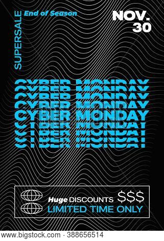 Cyber Monday Typography Banner, Poster Or Flayer Template. Creative Wave Grid Background Concept. Ab