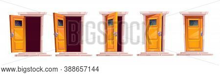 Cartoon Door Closing Motion Sequence Animation. Open Slightly Ajar And Close Wooden Doorways With St