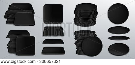 Black Coasters For Beer Cups Or Tankards, Blank Cardboard Mats For Mug Of Square And Round Shapes. B