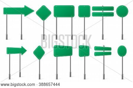 Green Road Signs Different Shapes On Metal Post Front And Angle View. Vector Realistic Set Of Blank