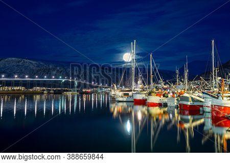 Tromso Under Full Moon At Polar Night, Norway, Tromso At Winter Time,  Norway