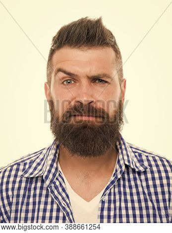 Mature Hipster With Beard. Trendsetter Hipster With Mustache Isolated On White. Mustachioed And Bear