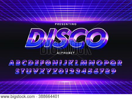 Retro Futuristic 80S Font Style. Vector Alphabet With Chrome Effect Template For Game Title, Poster