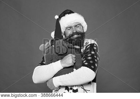 With Love. Bearded Man Hug Soft Toy. Happy Hipster Embrace Christmas Present. New Year Hug. Holiday