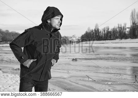 Warm Clothes For Cold Climate. Weather Forecast. Human And Nature. Man Walking Snowy Landscape In Su