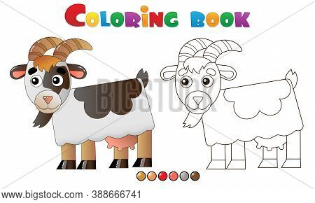Coloring Page Outline Of Cartoon Nanny Goat. Farm Animals. Coloring Book For Kids.