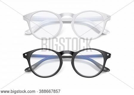 Vector 3d Realistic Plastic Round White, Black Rimmed Eye Glasses Set Closeup Isolated On White Back