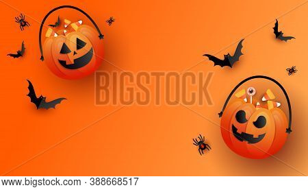 Halloween Horror Story. Happy Halloween Background Template With Orange Trick Or Treat Pumpkin And C