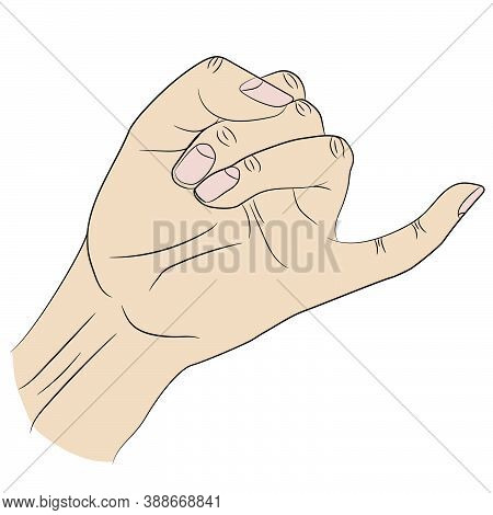 Isolated Little Finger Of Human Hand Raised Up In Gesture Of Promise.