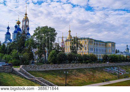 Panorama of Tambov with the image of churchs