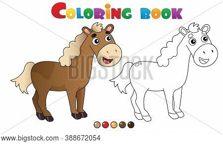 Coloring Page Outline Of Cartoon Horse. Farm Animals. Coloring Book For Kids.