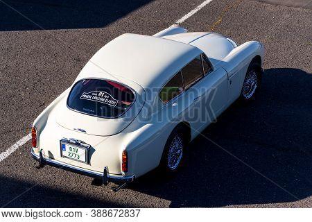 Most, Czech Republic - September 9 2020: Vintage Veteran Car Aston Martin Db Mark Iii Stands On A Ro