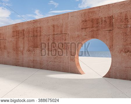 Abstract Contemporary Architectural Background, An Empty Interior With Round Doorway In Pink Concret