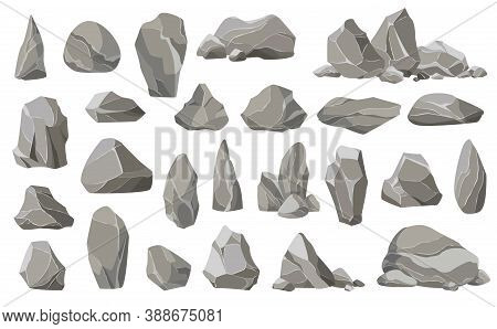 Rock Stones And Debris Of The Mountain. Gravel, Gray Stone. Collection Of Stones Of Various Shapes