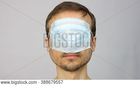 Human Head With Medical Protective Mask Over The Eyes And Nose, Prohibitions And Restrictions During