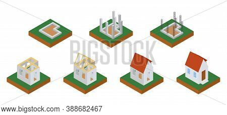 House Construction Phases Isometric Icons Set Vector Illustration. Building Stages Isolated On White