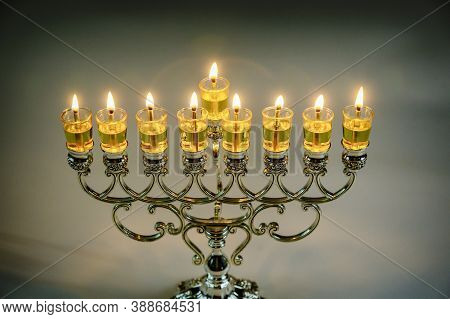 Jewish Festival Of Lights Holiday Symbol Chanukkah Menorah