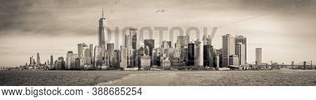 Sepia Toned Panorama Of The Manhattan, Nyc Skyline As Taken From Staten Island