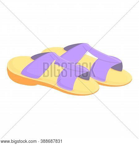 Casual Sandals Icon. Cartoon Of Casual Sandals Vector Icon For Web Design Isolated On White Backgrou