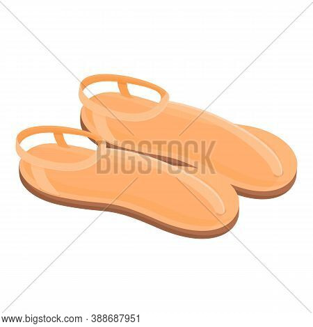 Beige Sandals Icon. Cartoon Of Beige Sandals Vector Icon For Web Design Isolated On White Background