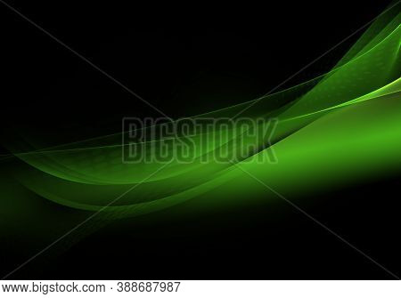 Abstract Background Waves. Black And Kelly Green Abstract Background For Wallpaper Or Business Card