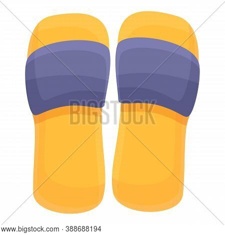 Rubber Beach Sandals Icon. Cartoon Of Rubber Beach Sandals Vector Icon For Web Design Isolated On Wh