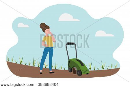 Lawn Care Equipment And Service, Aeration And Scarification. The Woman Looks Thoughtfully At The Spa