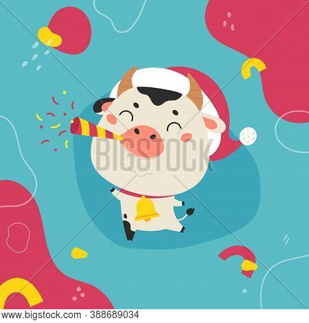 Christmas Design Template.2021 Sale.christmas Banner.xmas Cute Bull With Abstract Background.new Yea