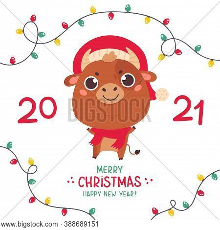 Cute Cartoon Bull With The Christmas Garlands. Design For Greeting Cards, Stickers, Banners, Prints.