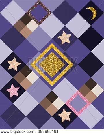 Patchwork Seamless Pattern With Stars And Half Moon On Violet  Background. Night Sky. Fantasy Print