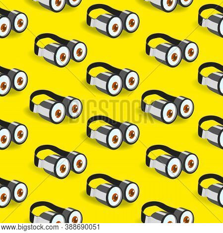 Funny Goggle Glasses Vector Seamless Pattern. Two Eyes Goggles Hand Drawn Cartoon Design Element. Fa