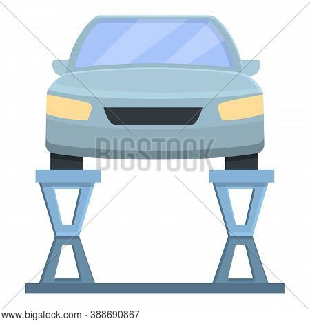 Car On Lift Icon. Cartoon Of Car On Lift Vector Icon For Web Design Isolated On White Background
