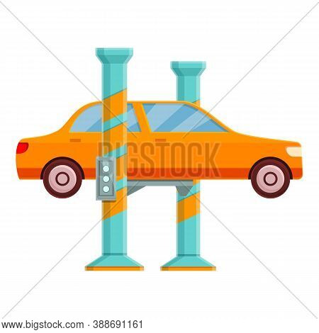 Car Lift Station Icon. Cartoon Of Car Lift Station Vector Icon For Web Design Isolated On White Back
