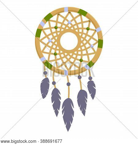 Amulet Dream Catcher Icon. Cartoon Of Amulet Dream Catcher Vector Icon For Web Design Isolated On Wh