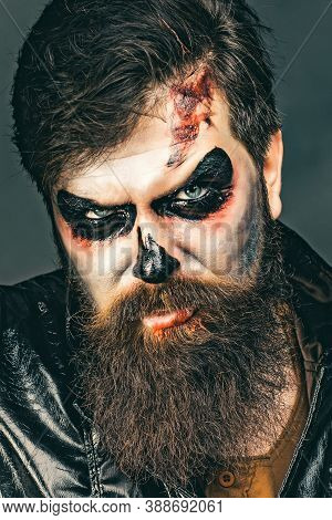 Happy Halloween - Handsome Vampire Isolated On Dark Background. Halloween Party And Holiday Concept.