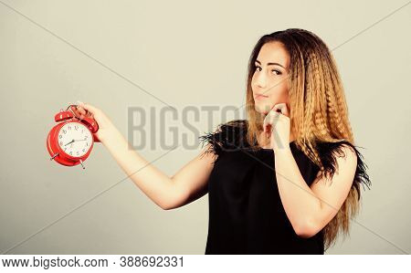 Woman Hold Red Alarm Clock. Counting Time Till Deadline. Pretty Girl Managing Her Time. Overwork Or