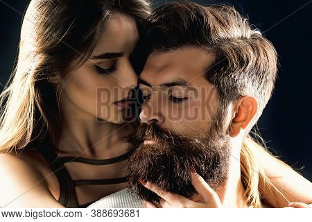 Affectionate Couple Caressing Adoring Each Other. Seduction Concept. Embrace And Kiss For Couple In