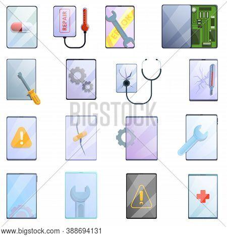 Tablet Repair Icons Set. Cartoon Set Of Tablet Repair Vector Icons For Web Design