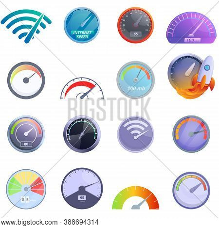 Internet Speed Icons Set. Cartoon Set Of Internet Speed Vector Icons For Web Design