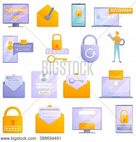 Password Recovery Icons Set. Cartoon Set Of Password Recovery Vector Icons For Web Design