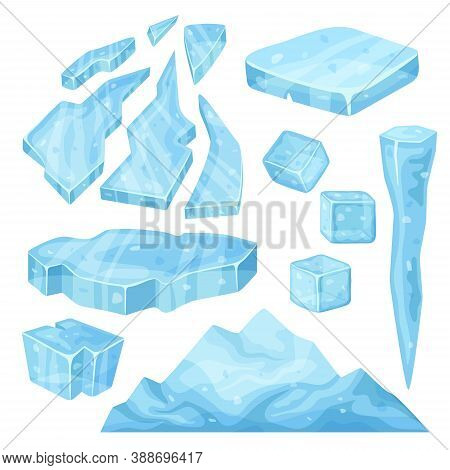 Iceberg, Icicle, Ice Cube And Broken Pieces. Cold Frozen Blocks Set, Arctic Snowy Objects On White B