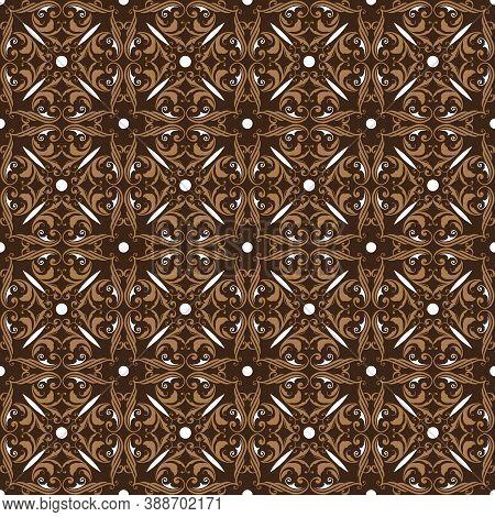 Elegant Flower Pattern On Bantul Batik With Smooth Dark Brown Color Design.