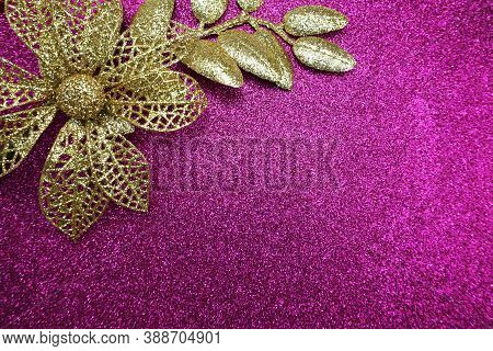 Glitter Flower Decoration With Space Copy On Pink Glitter Background