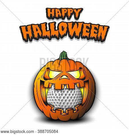 Happy Halloween. Golf Ball Inside Frightening Pumpkin. The Pumpkin Swallowed The Ball With Burning E