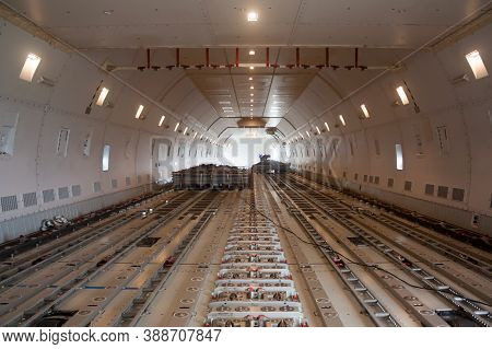 Inside Wide Body Air Cargo Freighter. A Lower Deck
