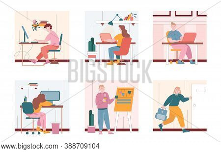 Man And Woman Characters Work With Laptop Computers In Office. Vector Illustration Set Of People In
