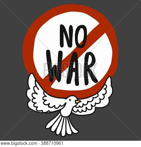 No War Logo And Cute White Pigeon Cartoon Vector Illustration