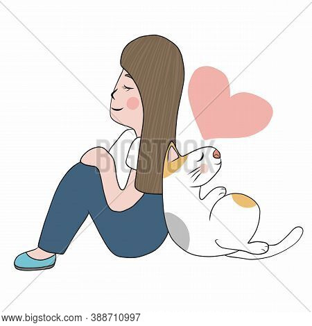 Cat And Woman Sitting On Their Backs, Cartoon Vector Illustration